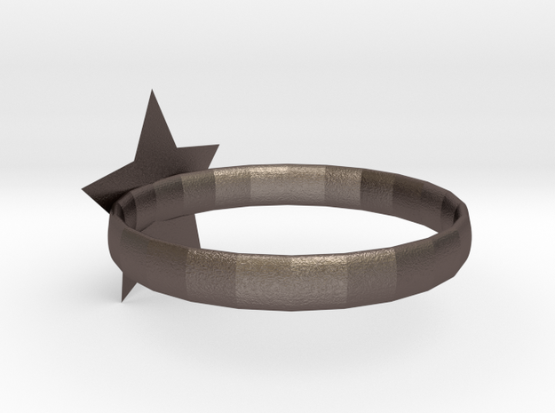 star ring in Polished Bronzed Silver Steel