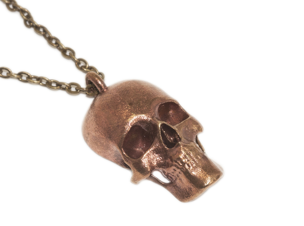Human skull pendant - 30 mm in Raw Bronze