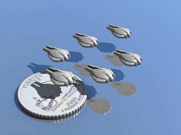 Pact Swarmer Fighters 6-pack 3d printed Six Swarmers escort a Florida quarter.