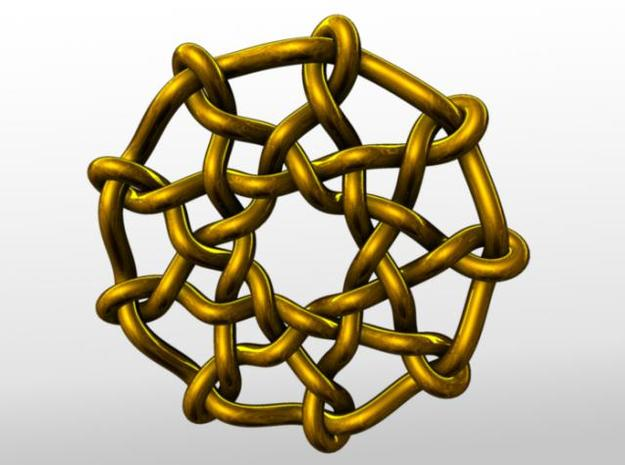Celtic Knots 03 (small) 3d printed Rendered in gold.
