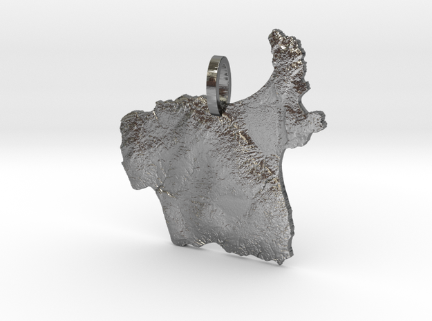 Sand Island, Apostles Map Pendant in Polished Silver