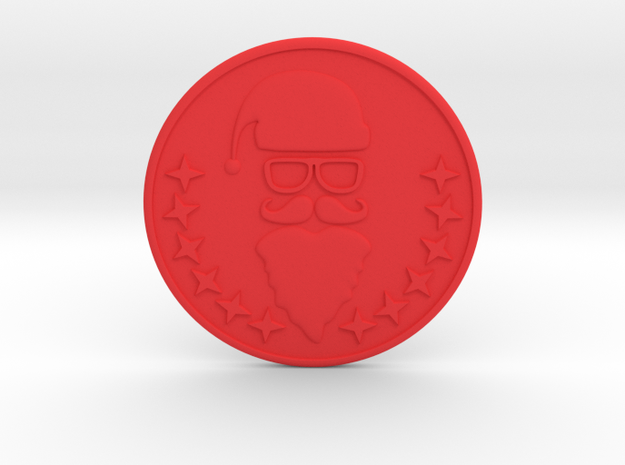 Santa Coaster in Red Strong & Flexible Polished
