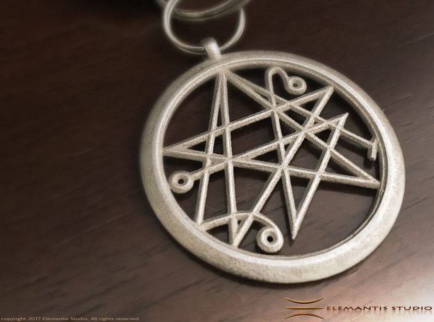 Sigil of the Gates keychain 4.5cm in Polished Nickel Steel