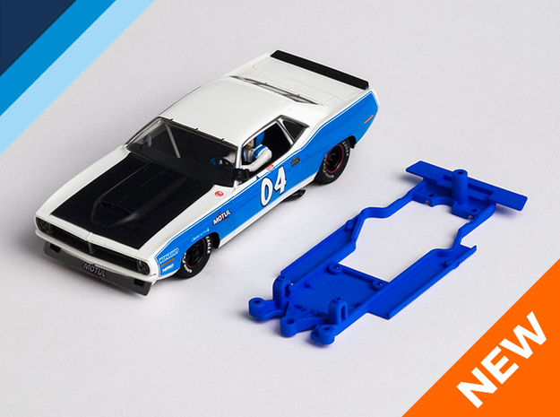 1/32 SCX Plymouth 'Cuda Chassis for Slot.it AW pod in Blue Strong & Flexible Polished
