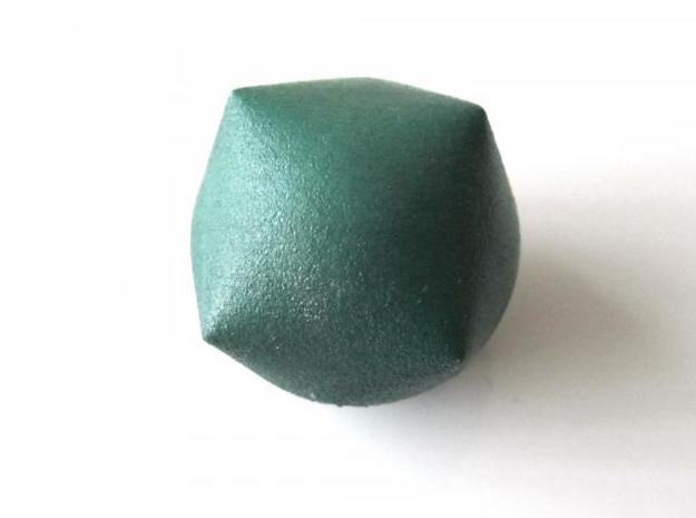 Inflated Cube 3d printed In Winter Green Strong and Flexible (face view)