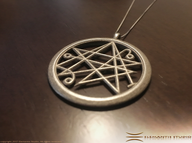 Sigil of the Gates Pendant 4.5cm in Polished Nickel Steel