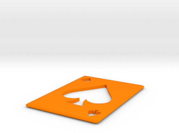 Throwing Card  spades in Orange Strong & Flexible Polished