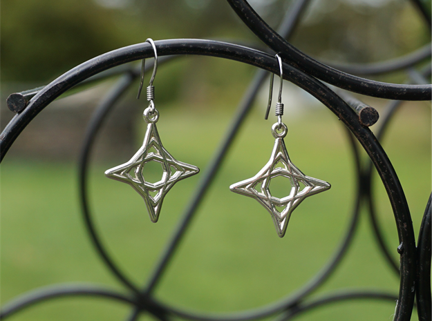 Diamond Star Earrings in Polished Silver