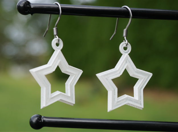 Star-Crossed Earrings in Smooth Fine Detail Plastic