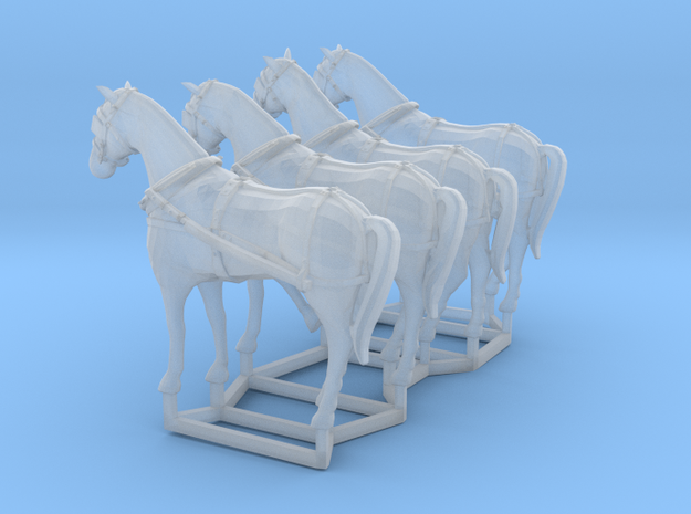 4 pack HO scale horses with harnesses in Frosted Ultra Detail