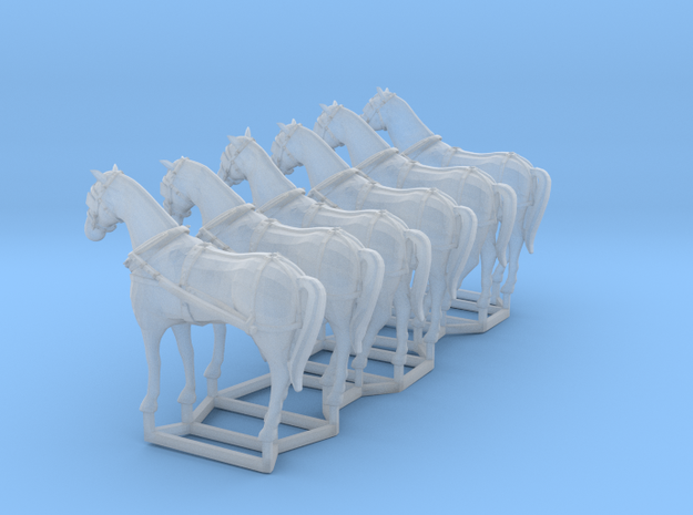 6 pack HO scale horses with harnesses in Smooth Fine Detail Plastic