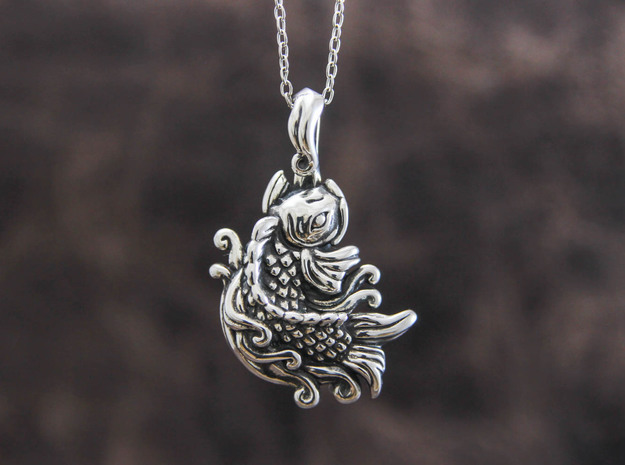 Carp Pendant in Polished Silver
