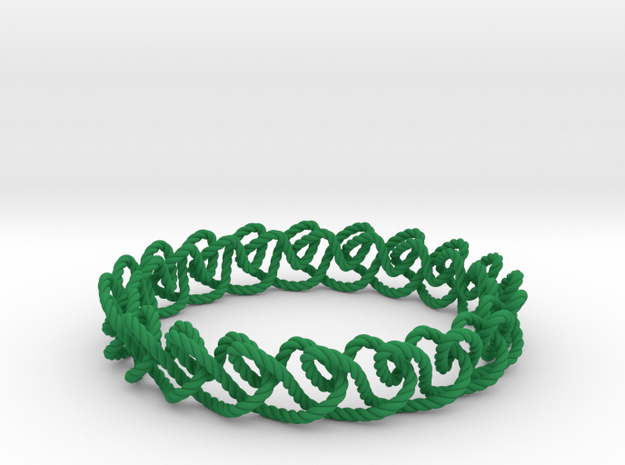 Chain stitch knot bracelet (Rope) in Green Processed Versatile Plastic: Medium