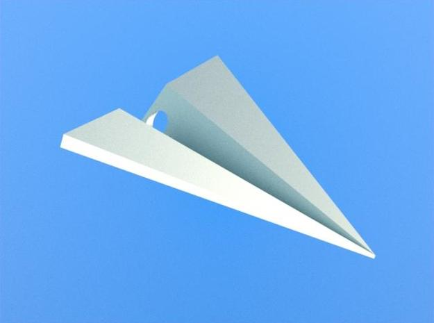 Paper Airplane Pendant in White Strong & Flexible