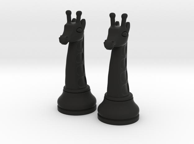 Pair Chess Giraffe Big / Timur Giraffe Zarafah in Black Natural Versatile Plastic