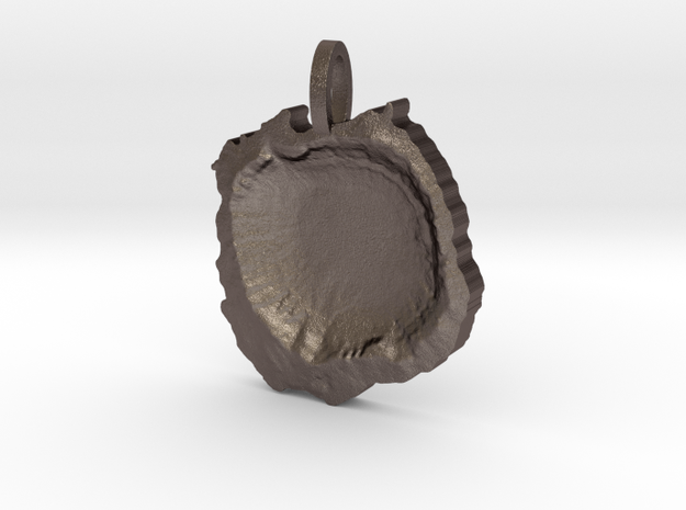 Meteor Crater Map Pendant, Contour Cut in Polished Bronzed Silver Steel