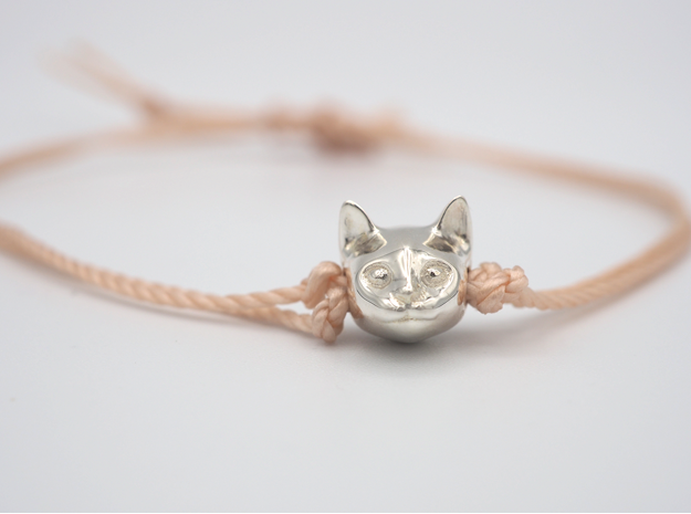 Cat Lover Friendship Bracelet Charm - Smiley Cat in Polished Silver