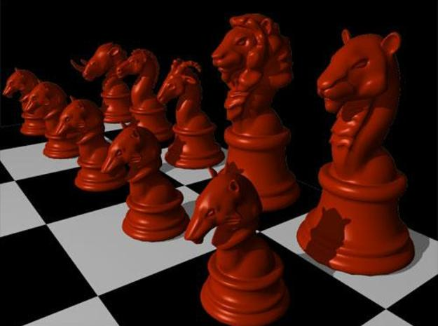 Chess Set (one player side) - Animal Kingdom 3d printed Maya render in red color texture - from an angle.