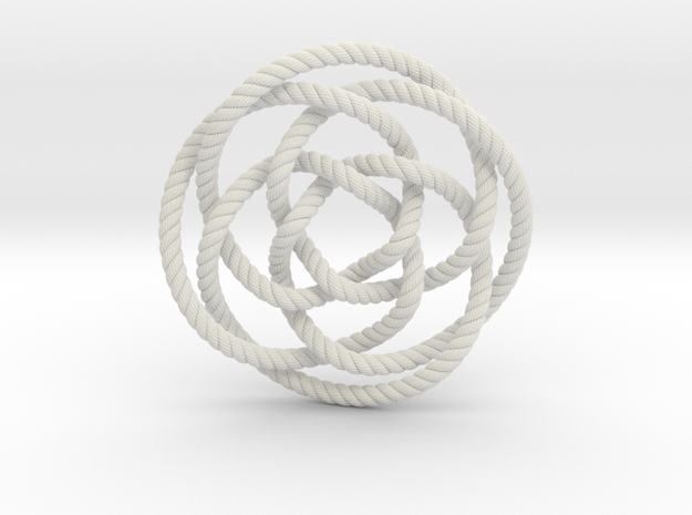 Rose knot 4/5 (Rope with detail) in White Natural Versatile Plastic: Extra Small