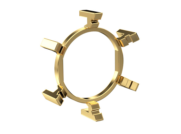 "HILT GX16/MT30 Connector Holder 1"" Gate Ring in Raw Brass"