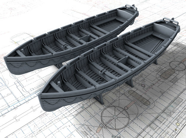 1/144 Scale Royal Navy 32ft Cutters x2 in Smooth Fine Detail Plastic