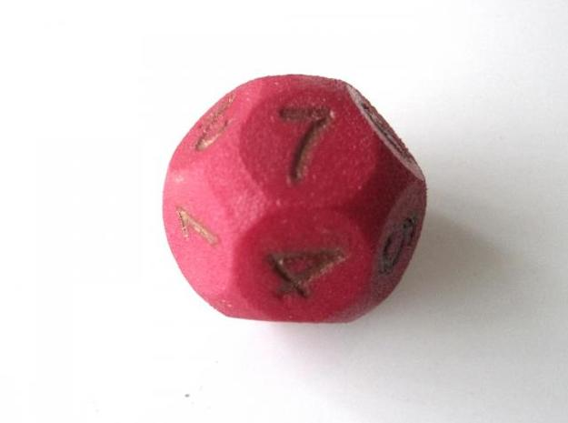 D14 Sphere Dice (1 to 7) 3d printed In Winter Red Strong and Flexible (the colors on the numbers were manually aded)