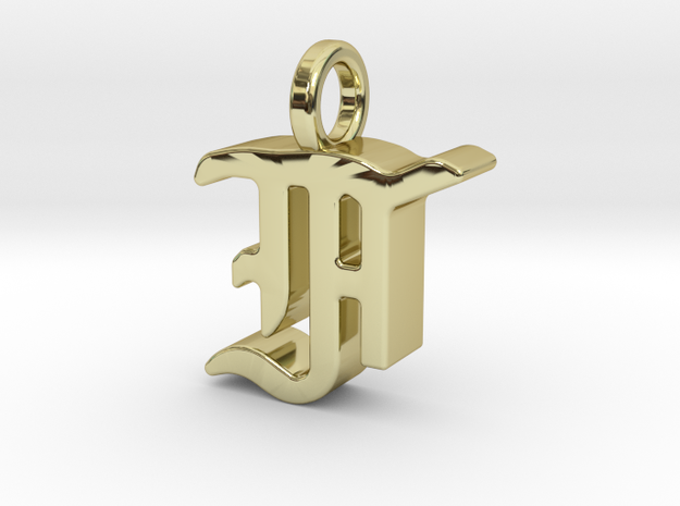 F - Pendant - 3 mm thk. in 18k Gold Plated Brass