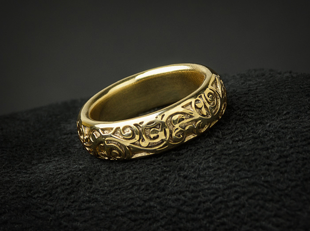Swirling Vine Ring - Size 7 3d printed Shown here in Gold Plated Brass
