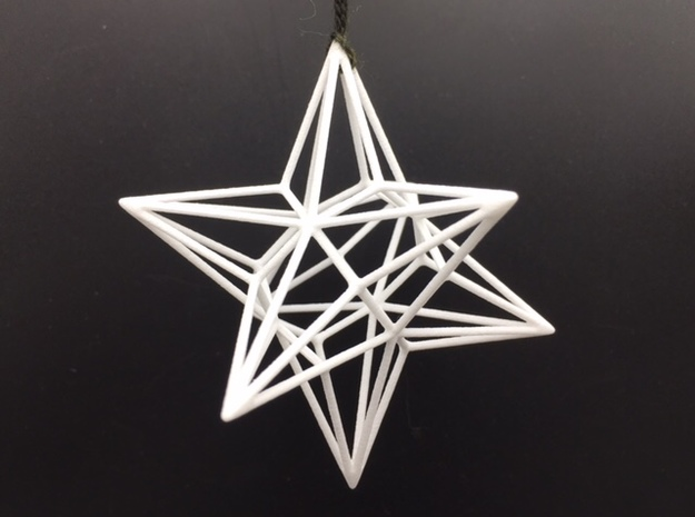 Polyhedron Ornament - Great Disdyakis Dodecahedron in White Strong & Flexible Polished