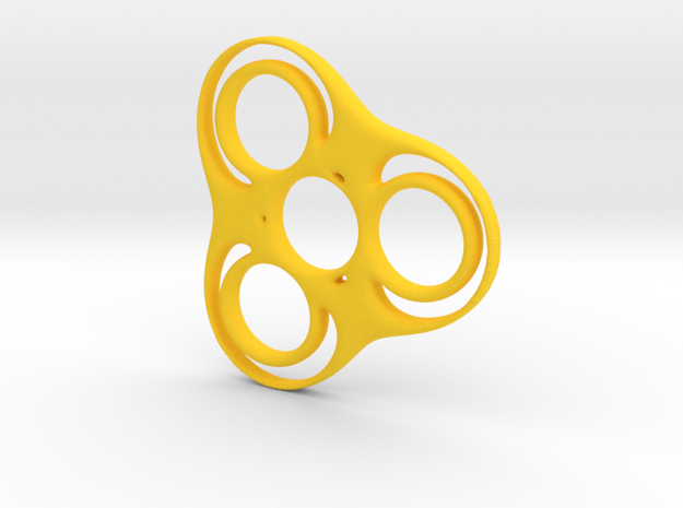 Trefoil Circle Spinner in Yellow Processed Versatile Plastic