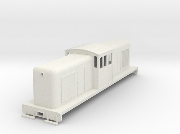 On30 large center cab body for SD7/9 chassis v2 in White Natural Versatile Plastic