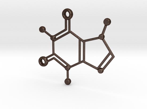 Caffeine Molecule Keychain in Matte Bronze Steel