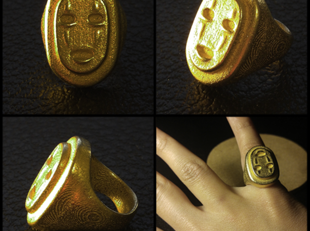 No-Face - Kaonashi in Polished Gold Steel