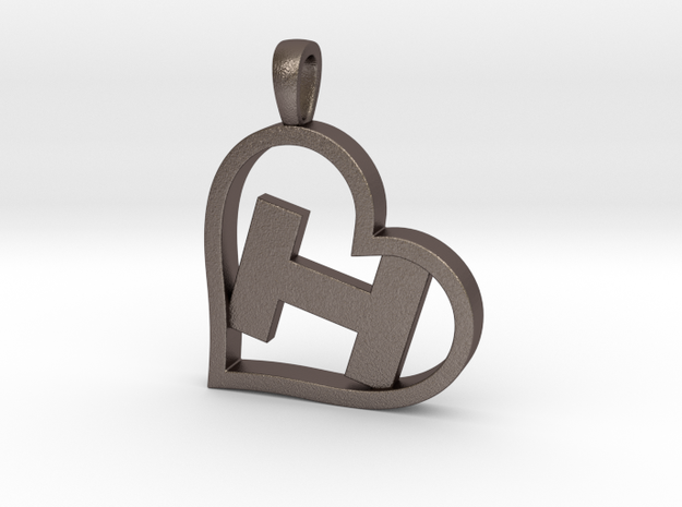 Alpha Heart 'H' Series 1 in Polished Bronzed Silver Steel