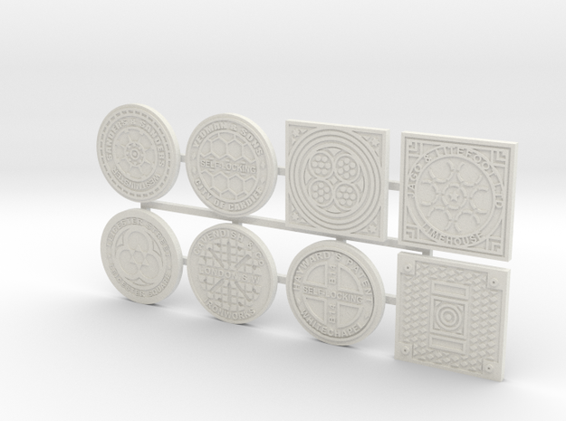 1:16 scale Manhole covers in White Natural Versatile Plastic
