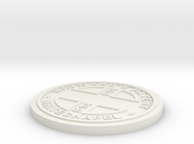 1:9 Scale Customizable Hayward manhole cover in White Natural Versatile Plastic