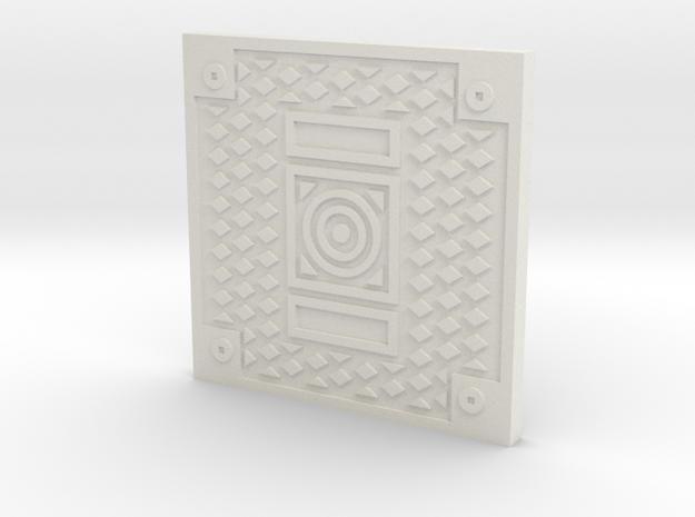 1:9 Scale Square Manhole Cover in White Natural Versatile Plastic