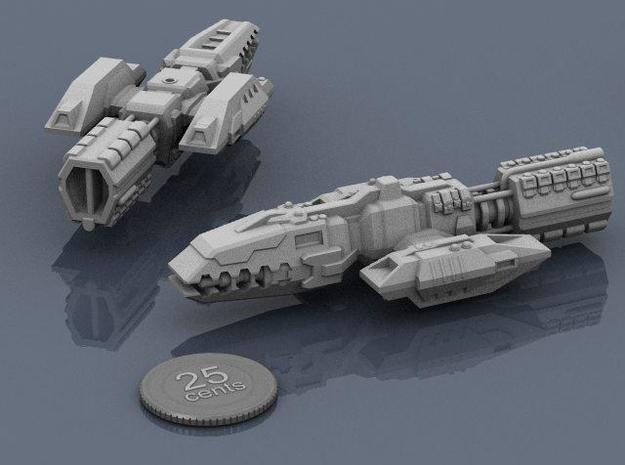 Colonial Battlewagon 3d printed Renders of the model, plus a virtual quarter for scale.