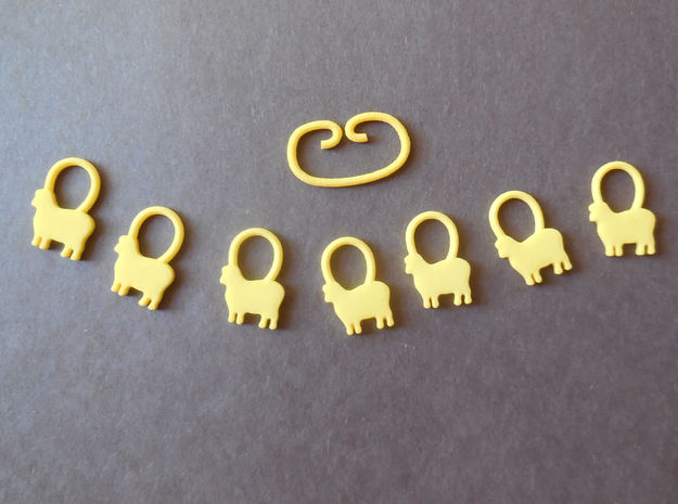 Baa-a-a Knitting Stitch Markers in Yellow Processed Versatile Plastic
