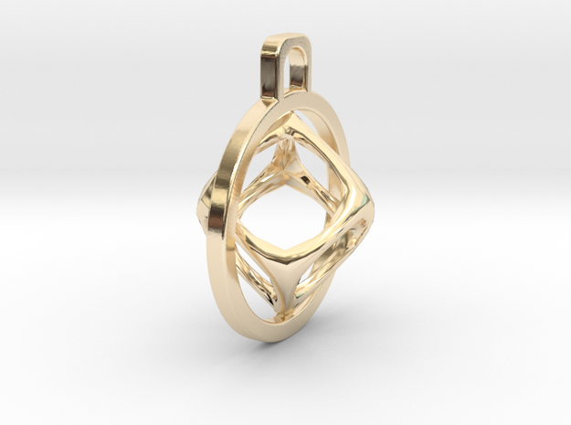 Cube Pendant in 14k Gold Plated
