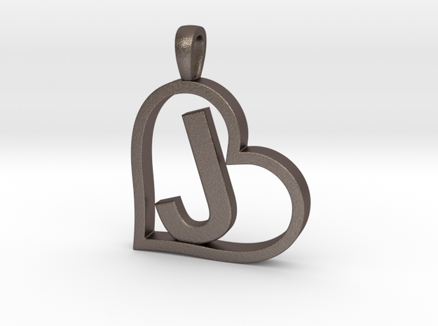 Alpha Heart 'J' Series 1 in Polished Bronzed Silver Steel