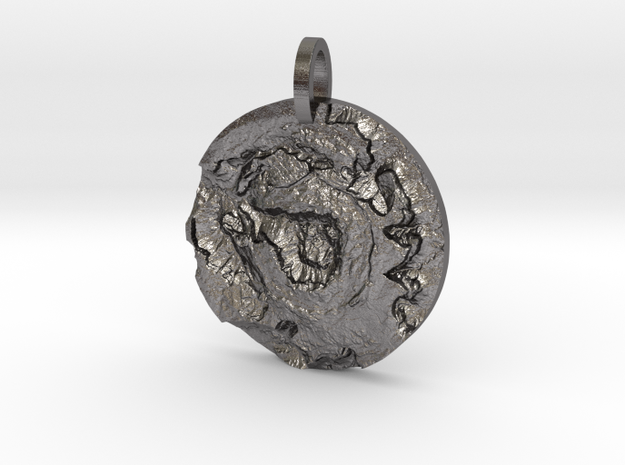 Upheaval Dome Map Pendant in Polished Nickel Steel