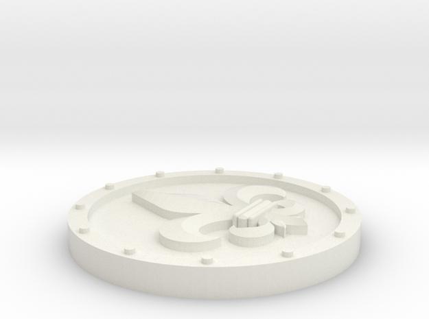 30mm roundel (fleur de lis) in White Natural Versatile Plastic