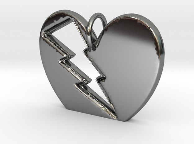 Lightening in your Heart pendant in Fine Detail Polished Silver