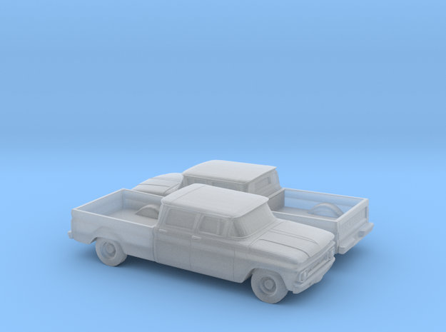 1/160 2X 1962 Chevrolet C20 Fleetside Small R. Win in Smooth Fine Detail Plastic