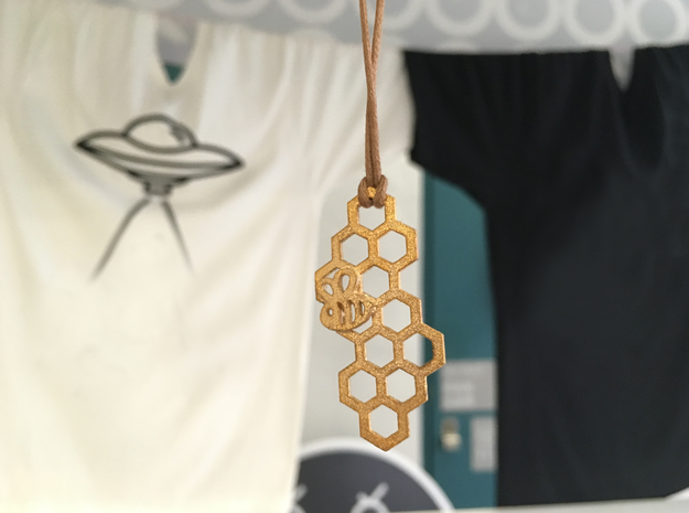 Honeycomb Bee's Hive Pendant in Polished Gold Steel
