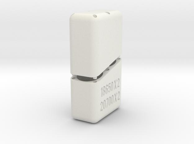 Swedish Vaper 2 x 20700 or 18650 Battery Holder in White Natural Versatile Plastic