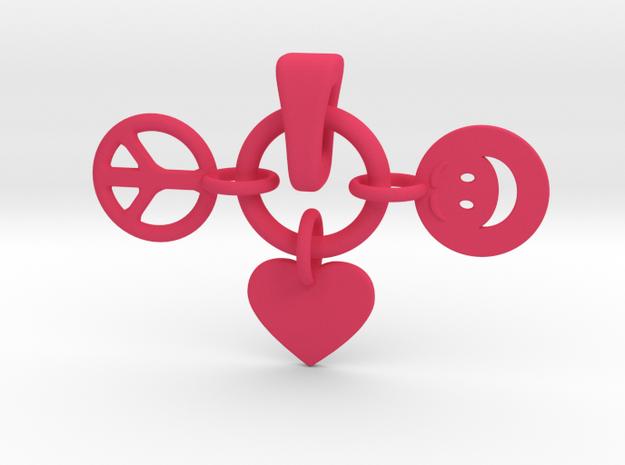 28- PEACE/ LOVE/ SMILEY INTERLOCKING PENDANTS in Pink Processed Versatile Plastic