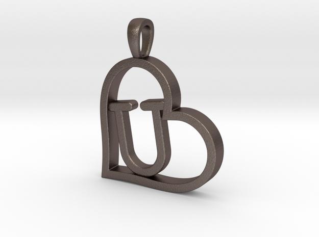 Alpha Heart 'U' Series 1 in Polished Bronzed Silver Steel