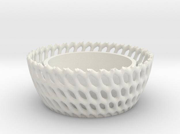 Candel Holder Voronoi Round in White Strong & Flexible